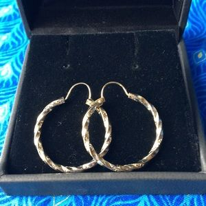 """Jewelry - 1"""" gold plated hoops with etching"""